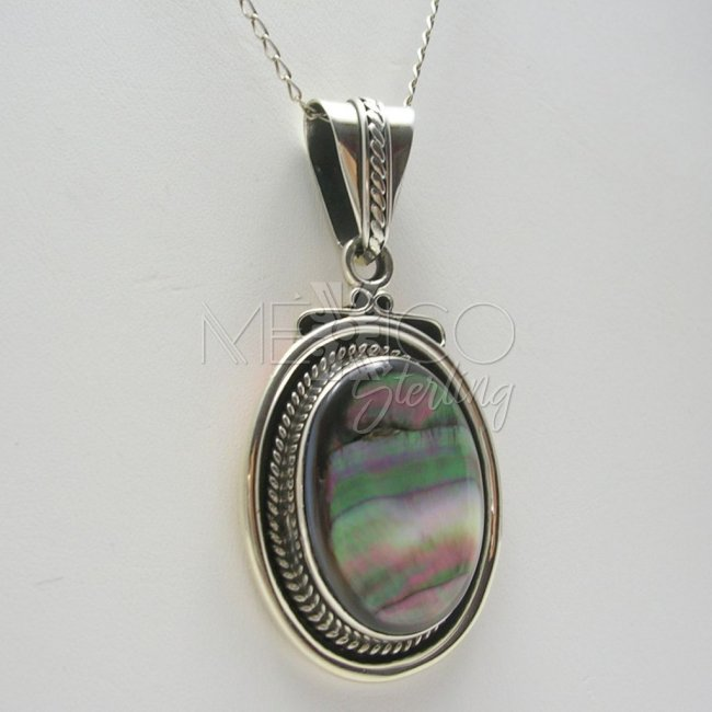 Taxco Sterling Silver and Abalone Pendant