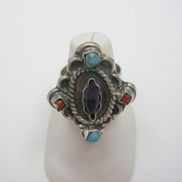 Mexican Silver and Stones Adjustable Ring