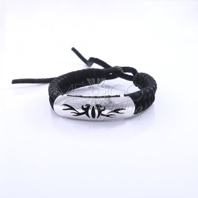 Silver and Leather Fire Wings Bracelet
