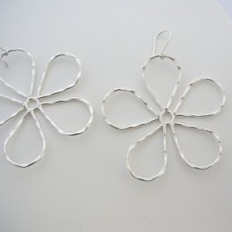 Large Silver Earrings with Flower Shape
