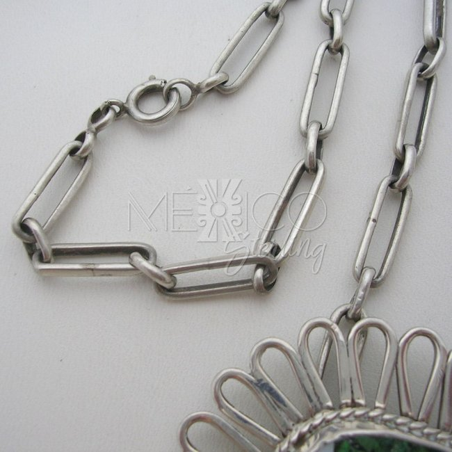 Taxco Vintage Silver Necklace with Mixed Inlays