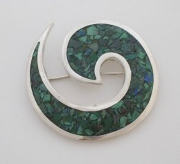 Old Taxco Style Silver Inlaid Malachite Pin - Pendant