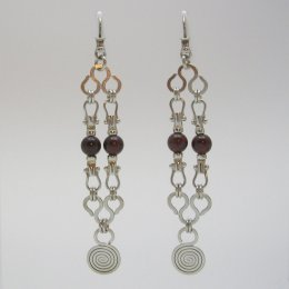 Taxco Silver and Garnet Dangling Earrings