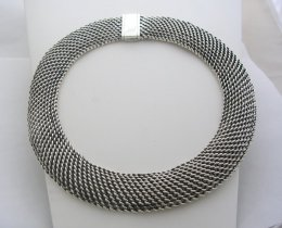 Solid Taxco Sterling Silver Tight Weave FAR FAN Style Necklace