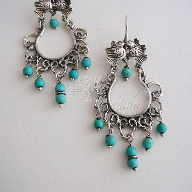 Classic Silver Earrings with Stone Beads