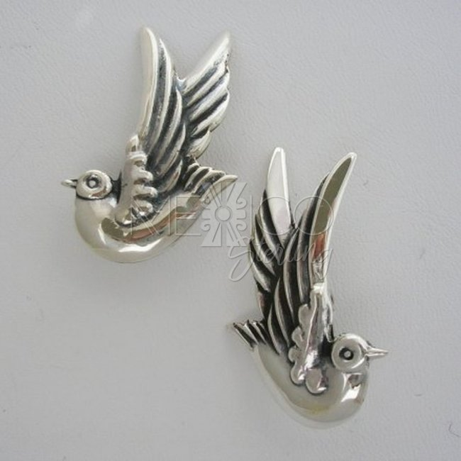 Margot de Taxco Molds Silver Dove Earrings