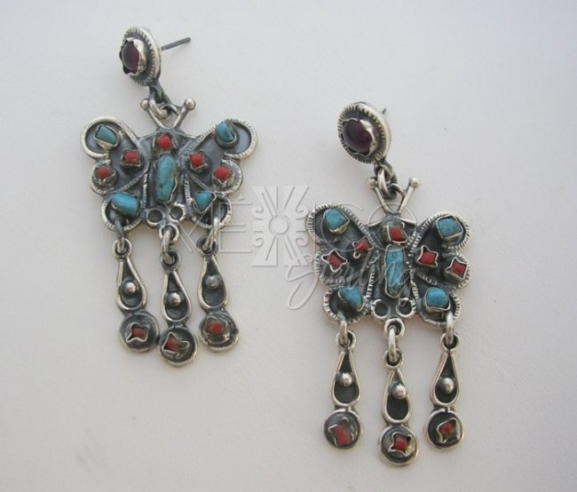 MATL-Matilde Style Multi Gemstone Butterfly Earrings