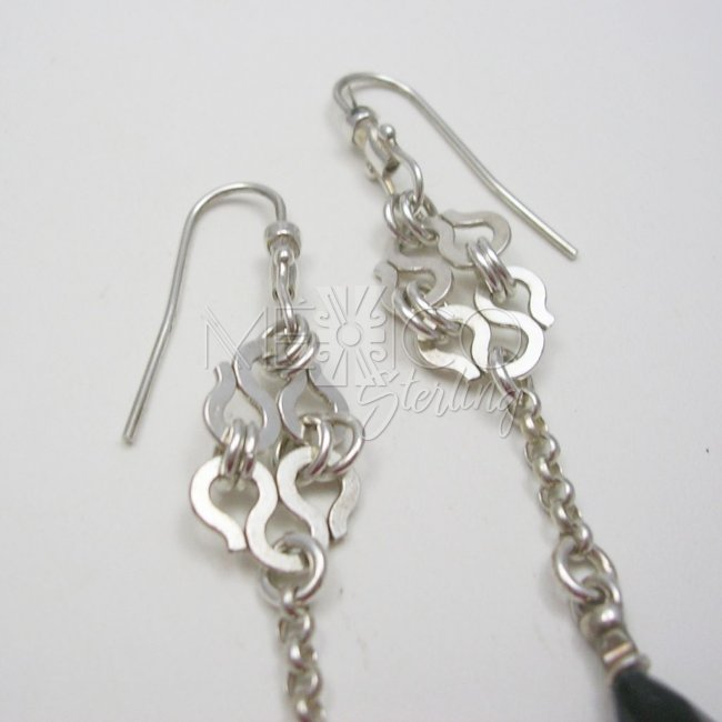 Delicate Silver Dangling Earrings with Stone