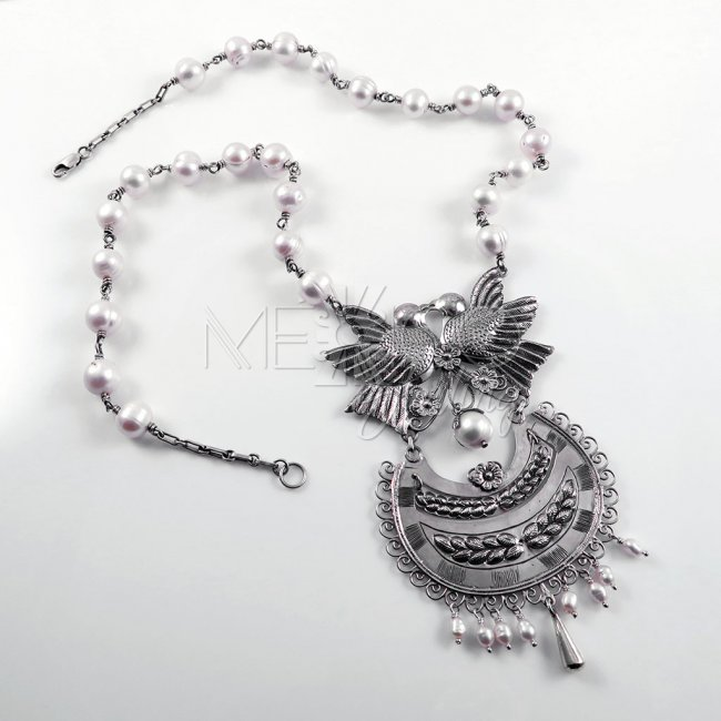 Spiritual Awakening Silver and Pearls Necklace