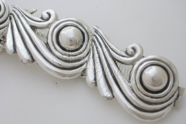 Original Margot de Taxco Molds, Sterling Silver Swirls Bracelet
