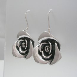 Long Taxco Silver Rose Earrings