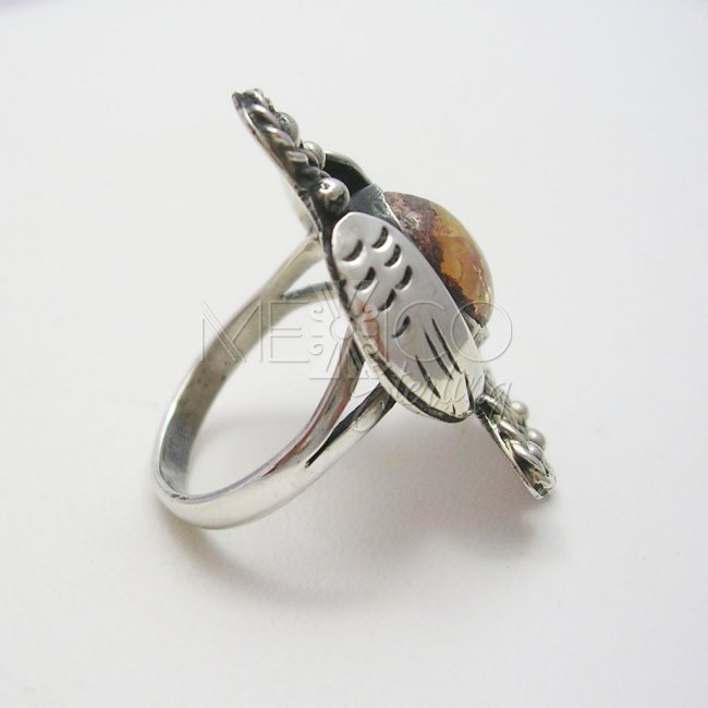 Mexican Opal and Silver Vintage Eagle Ring