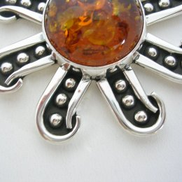 Taxco Sterling Silver Amber Star Pendant