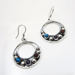 Baroque Taxco Silver Stone Hoops