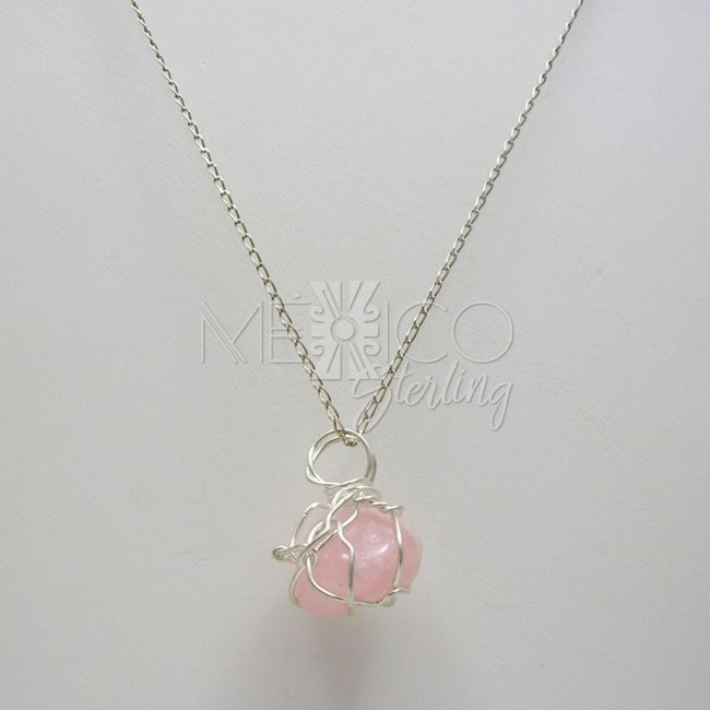 Silver Plated and Rose Quartz Pendant