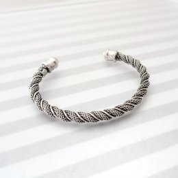 Solid Silver Braided Wave Bracelet