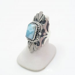Silver-Larimar Exotic Fan Poison Ring