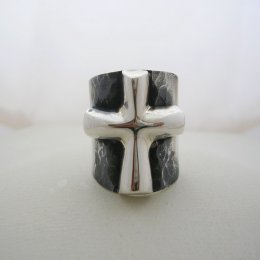 Taxco Solid Silver Ring with Cross