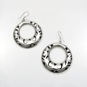 Taxco Silver Moon Illusion Hoops