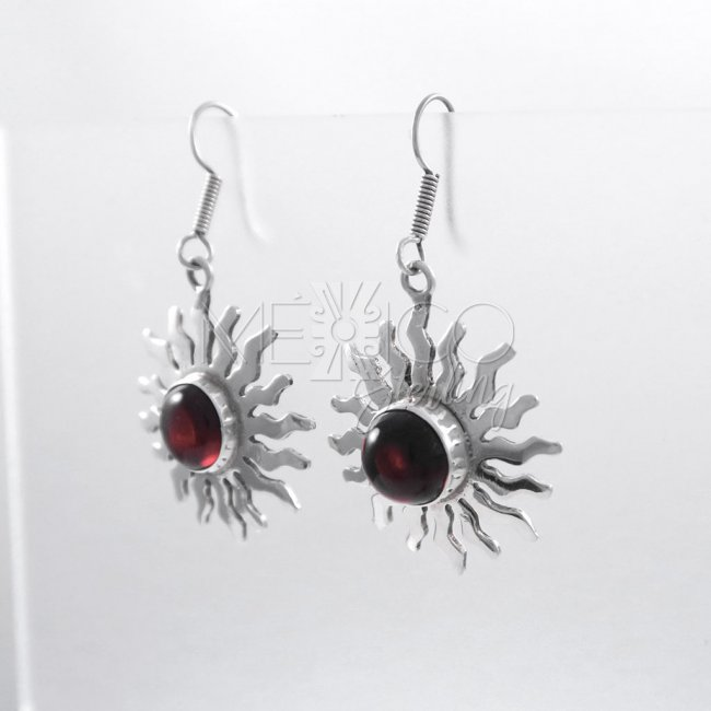Taxco Silver Suns with Amber Earrings