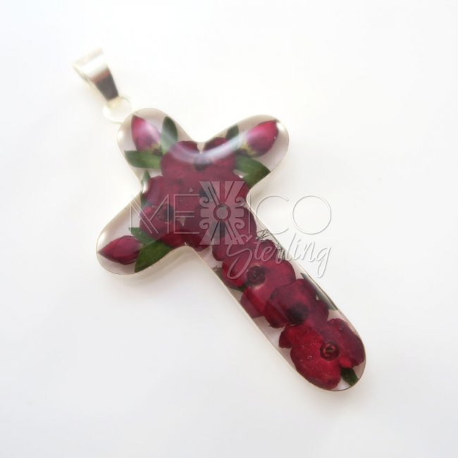 Silver Deep Red Still Nature Pendant
