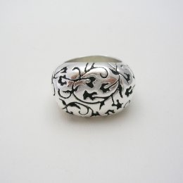 Taxco Silver Ring with Ivy Oxidized Decoration