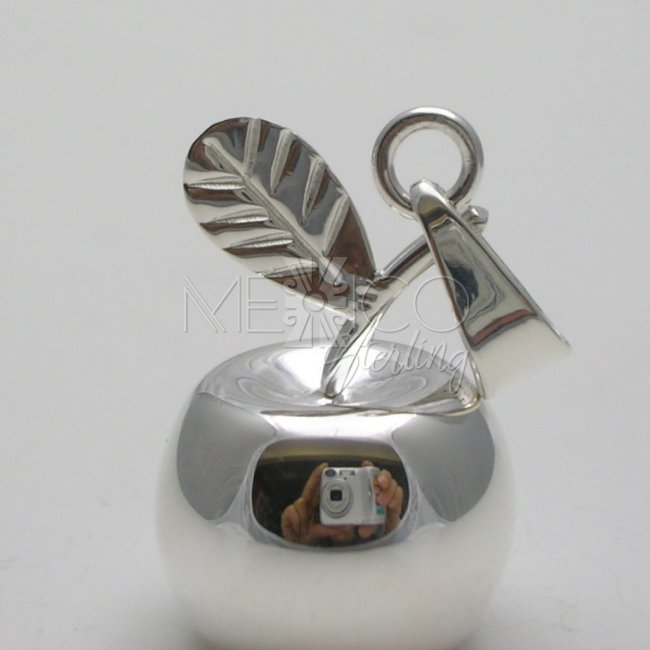 Taxco Silver Plated Apple Pendant