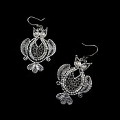 Silver Filigree Dreamy Owl Earrings