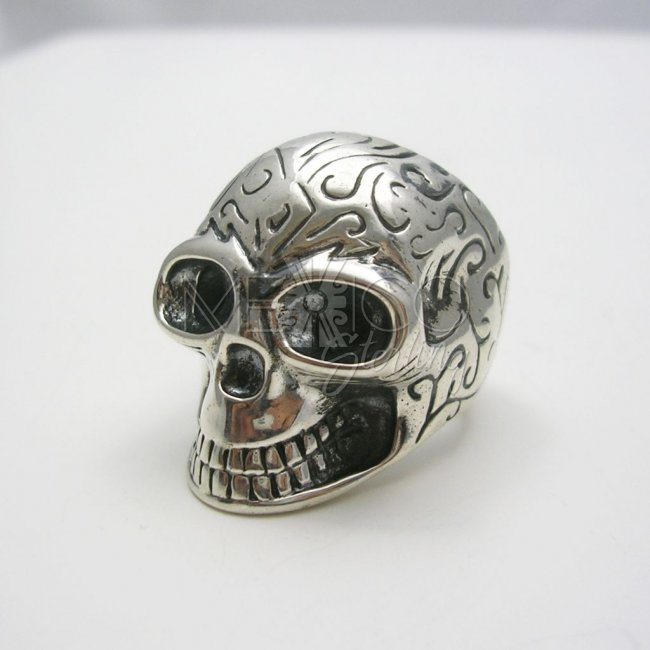 Man/Woman Decorated Taxco Silver Skull Ring