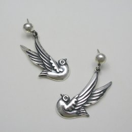 Romantic Taxco Silver Doves Earrings