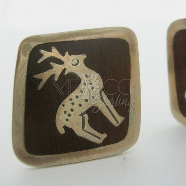 Collectible Los Ballesteros Silver and Rosewood Cufflinks