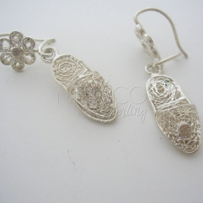 Charming Taxco Silver Filigree Earrings