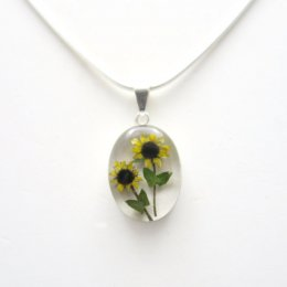 Lovely Silver and Sunflowers Pendant