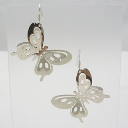 Sterling Silver Earrings, Butterfly Shapes