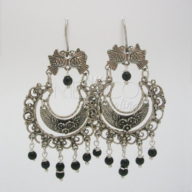 Frida Kahlo Style Silver Dangling Earrings