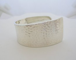 Modern Taxco Silver Hammered Open Cuff