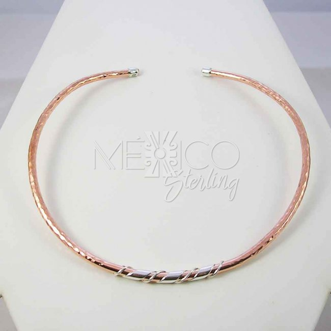 Shiny Sunset Copper and Silver Choker