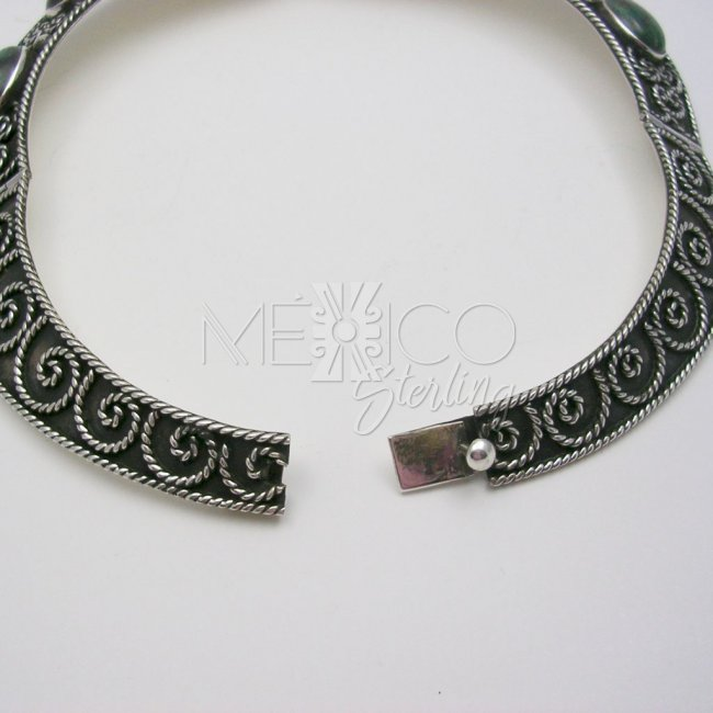 Traditional Taxco Silver Necklace with Stones