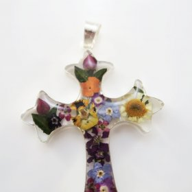 Bright Charming Silver and Flowers Cross