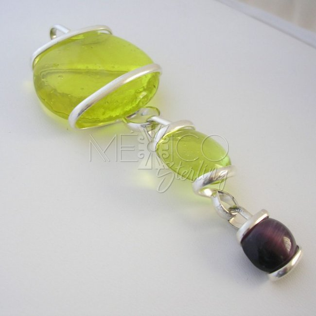 Silver Plated Pendant with Colorful Glass