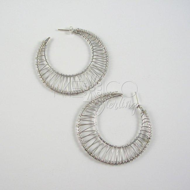 Mexican Sterling Silver Earrings Hoops