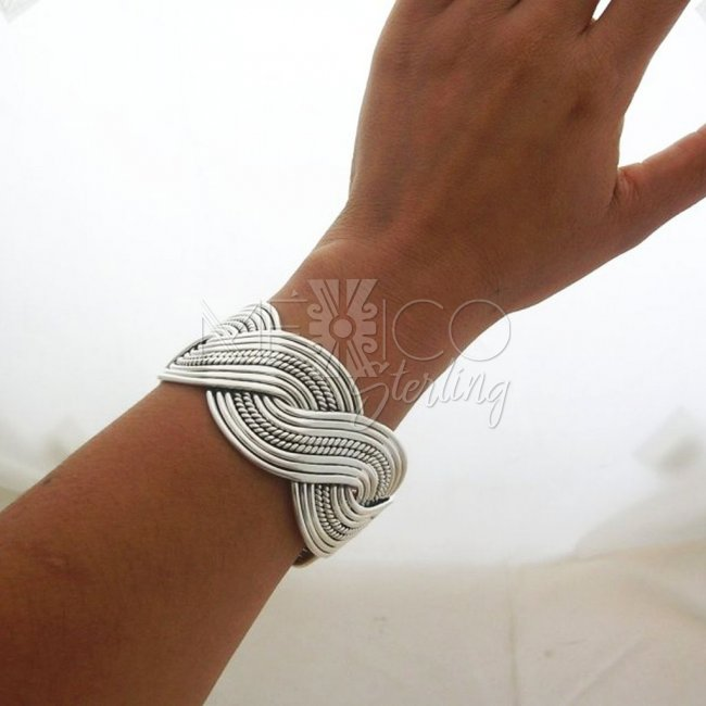 Taxco Silver Cuff Bracelet, Solid Built