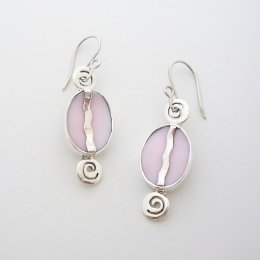 Taxco Silver Pink Dream Dangle Earrings