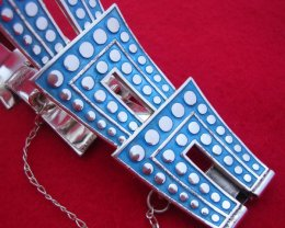 Taxco Sterling Silver and Enamel Bracelet Margot de Taxco