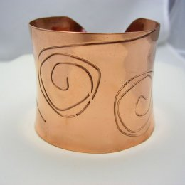 Mexican Copper Wide Cuff with Decoration