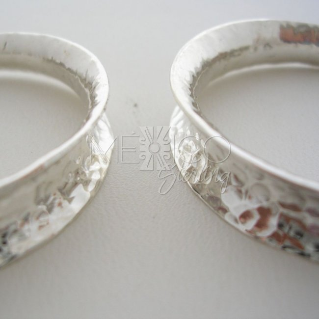 Concave Mexican Hammered Silver Hoops