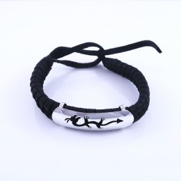 Silver and Leather Mystic Dragon Bracelet
