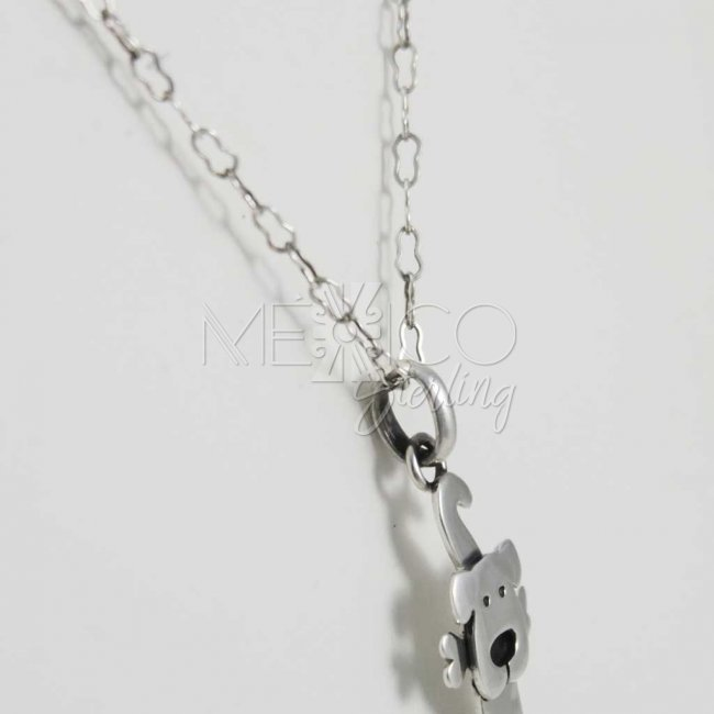 Cute Doggy Silver Pendant with Bone