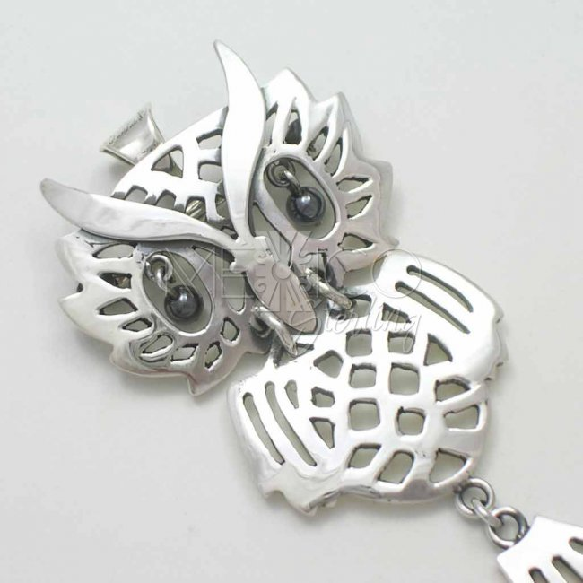 Taxco Sterling Silver Owl Pendant-Brooch