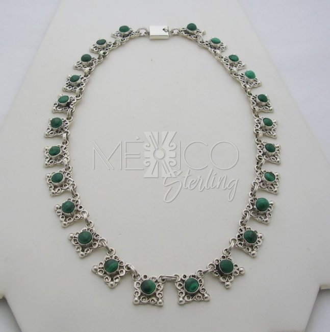 Old Taxco Sterling Silver and Malachite Necklace